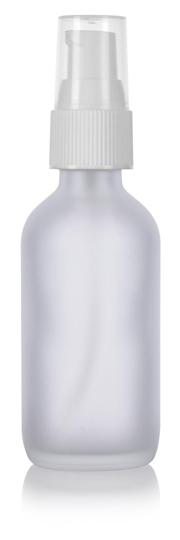 Frosted Clear Glass Boston Round Treatment Pump Bottle with White Top - 2 oz / 60 ml