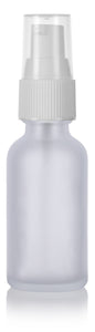 Glass Boston Round Bottle in Frosted Clear with White Treatment Pump - 1 oz / 30 ml