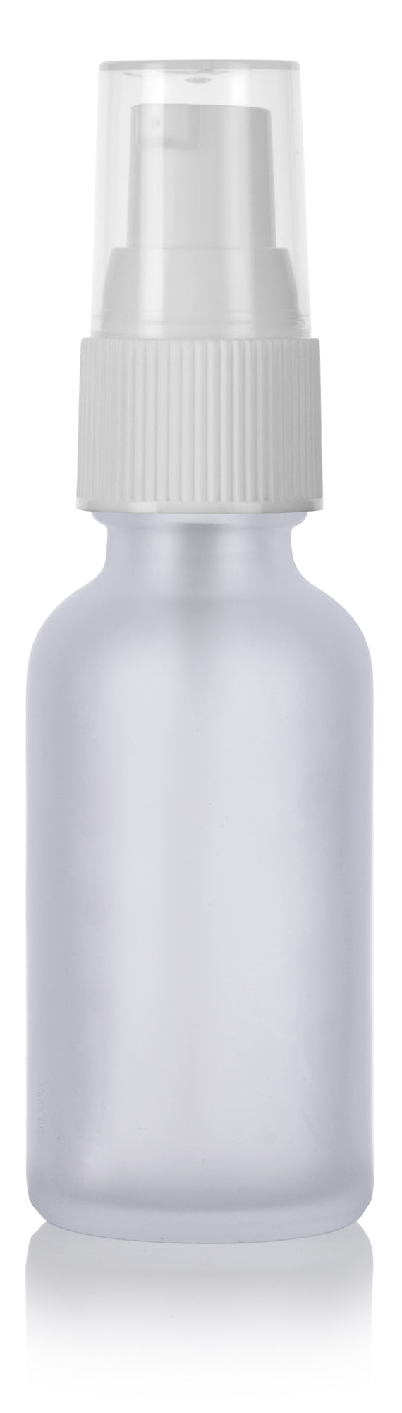 Frosted Clear Glass Boston Round Treatment Pump Bottle with White Top - 1 oz / 30 ml