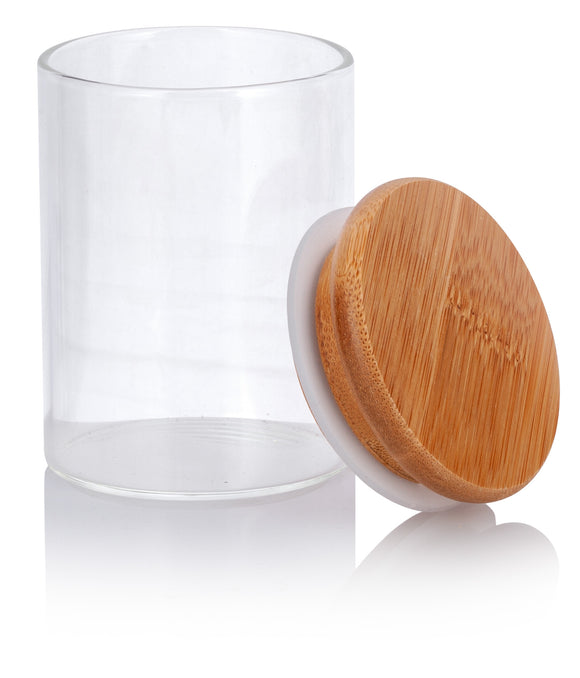 Glass Borosilicate Tall Jar in Clear with Bamboo Silicone Sealed Lid - 4 oz / 120 ml