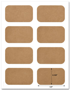 "Textured Brown Kraft 3.5"" x 2.125"" Round Corner Rectangle Labels With Template and Printing Instructions, 5 Sheets, 40 Labels (JRB35)"