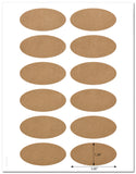 "Textured Brown Kraft 3"" x 1.5"" Inch Oval Labels with Template and Printing Instructions, 5 Sheets, 60 Labels (JVBK30)"