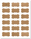 Decorative Brown Kraft Semi-Rectangle Labels, 2.24 x 1.29 inches, with Downloadable Template and Printing Instructions, 5 Sheet, 90 Labels (BK22)