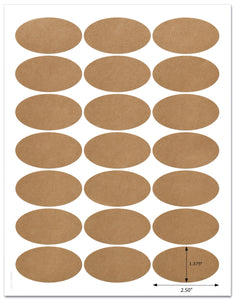 "Textured Brown Kraft 2.5"" x 1.375"" Inch Oval Labels with Template and Printing Instructions, 5 Sheets, 105 Labels (JOB25)"