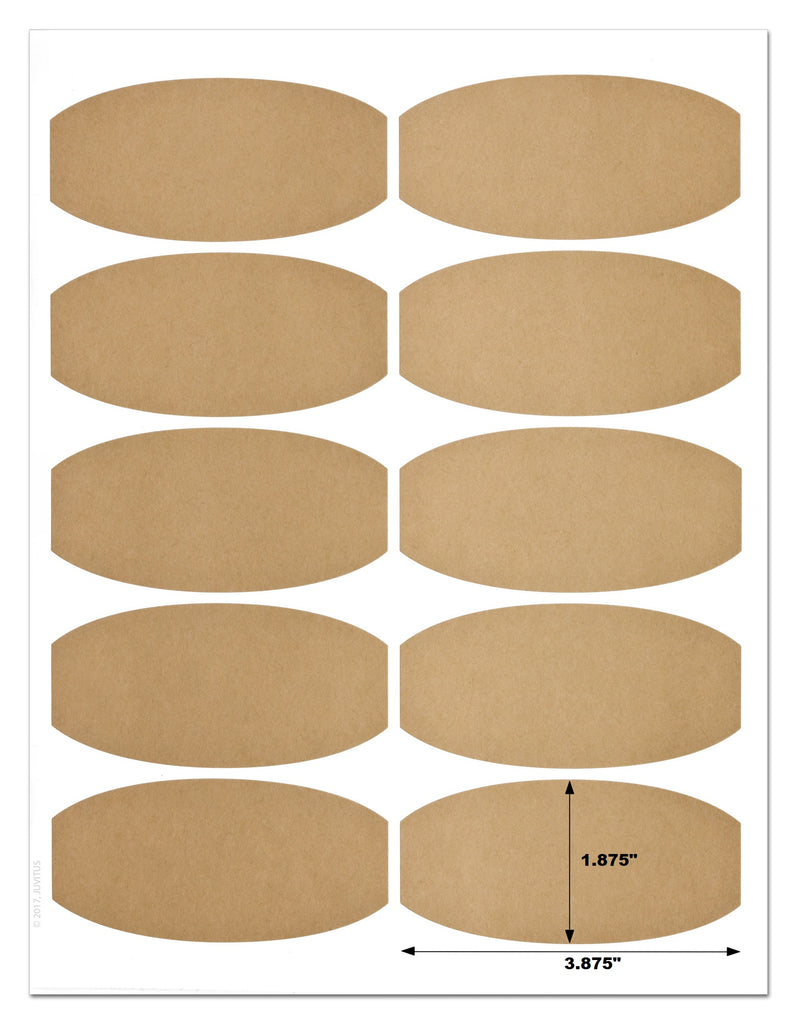 Textured Brown Kraft 3.875 x 1.875 Inch Semi-Oval Labels for Laser Printer with Downloadable Template and Printing Instructions, 5 Sheets, 50 Labels (BK38)