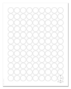 Waterproof White Matte 0.75 Inch Diameter Circle Labels for Laser Printer with Template and Printing Instructions, 5 Sheets, 540 Labels (JR75)