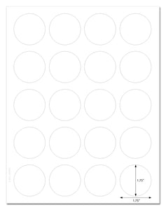 Waterproof White Matte 1.75 Inch Diameter Circle Labels for Laser Printer with Template and Printing Instructions, 5 Sheets, 100 Labels (JR175)