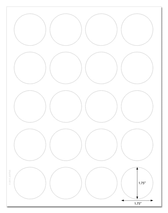 Standard White Matte Circle Labels, 1.75 Inch Diameter, with Downloadable Template and Printing Instructions, 10 Sheets, 200 Labels (XR75)