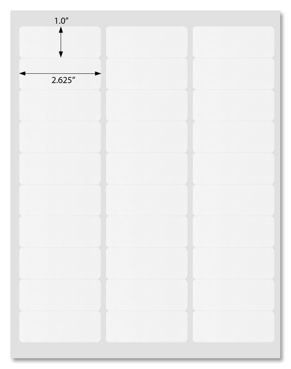 Waterproof White Matte Address Labels, 2.625