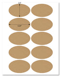 "Textured Brown Kraft 3.25"" x 2"" Oval Labels for Inkjet and Laser Printers with Template and Printing Instructions, 5 Sheets, 50 Labels (OBK32)"