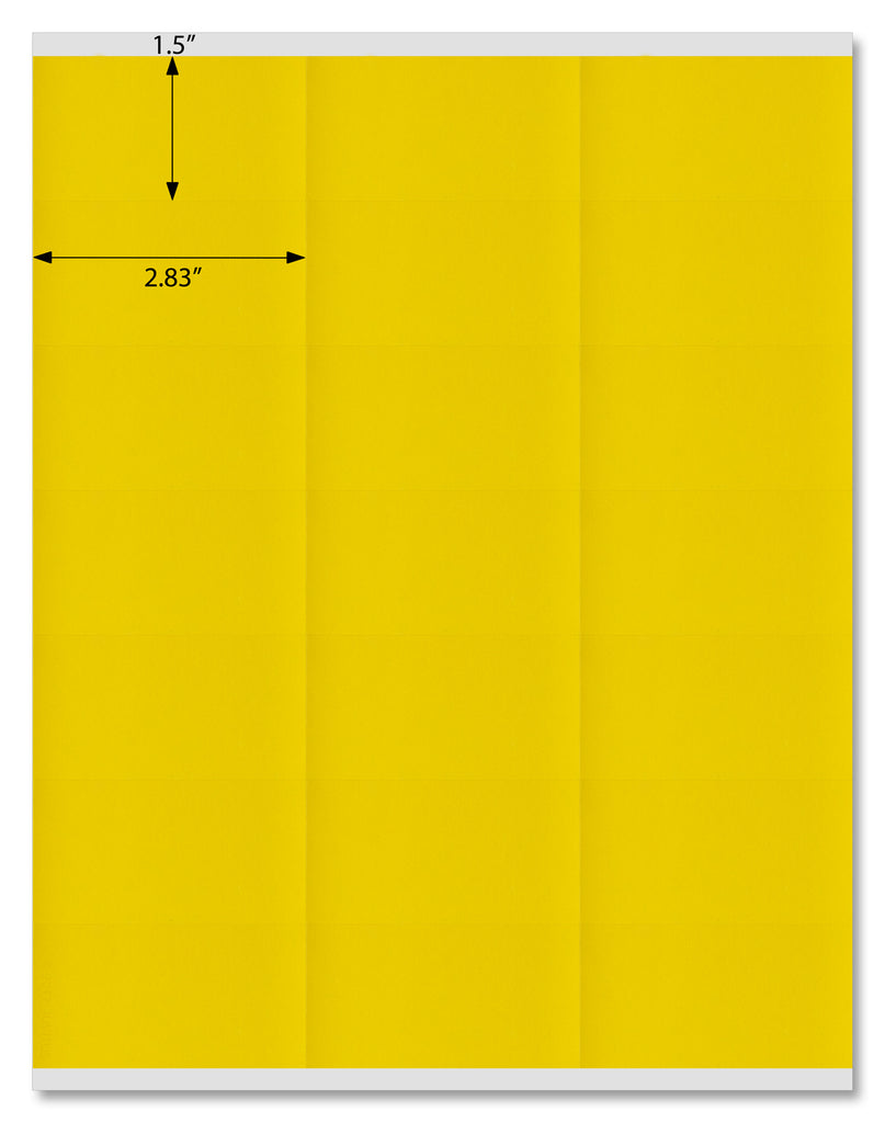 "Yellow 2.83"" x 1.5"" Rectangle Labels for Laser and Inkjet Printers with Downloadable Template and Printing Instructions,  5 Sheets, 105 Labels (Y28)"