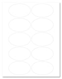 "Waterproof White Matte 3.25"" x 2"" Oval Labels for Laser Printers with Template and Printing Instructions, 5 Sheets, 50 Labels (OV32)"
