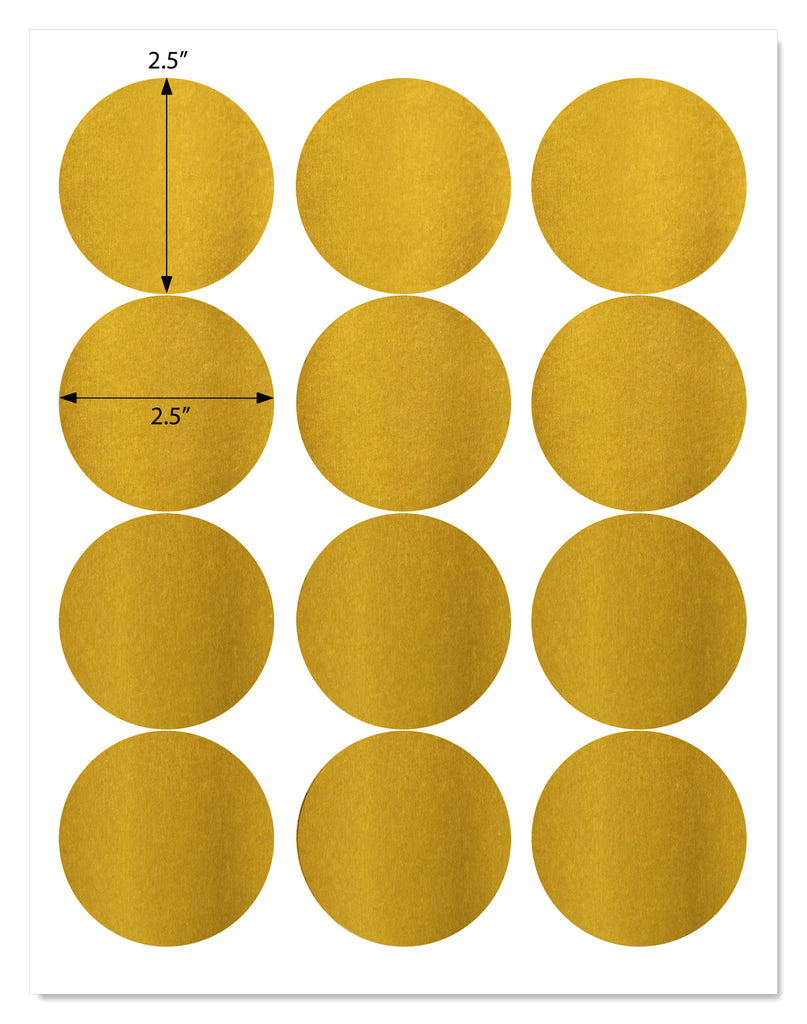 Shiny Gold Foil 2.5 Inch Diameter Circle Labels for Laser Printers with Template and Printing Instructions, 5 Sheets,  60 Labels (GF25)