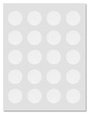 Waterproof Clear Gloss 1.5 Inch Circle Perforated Center Seal Labels for Laser Printers with Downloadable Template and Printing Instructions, 5 Sheets, 100 Labels (RC15)
