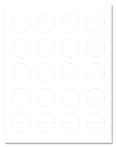 Standard White Matte Round Perforated Center Seal Labels, 1.5 Inch Diameter, With Downloadable Template and Printing Instructions, 10 Sheets, 120 Labels (XP15)