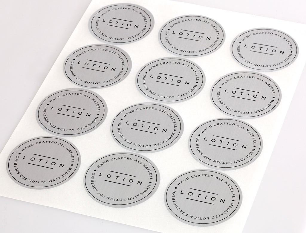 Waterproof Silver Foil 2.5 Inch Diameter Round Labels for Laser Printer with Template and Printing Instructions, 5 Sheets,  60 Labels (CS25)