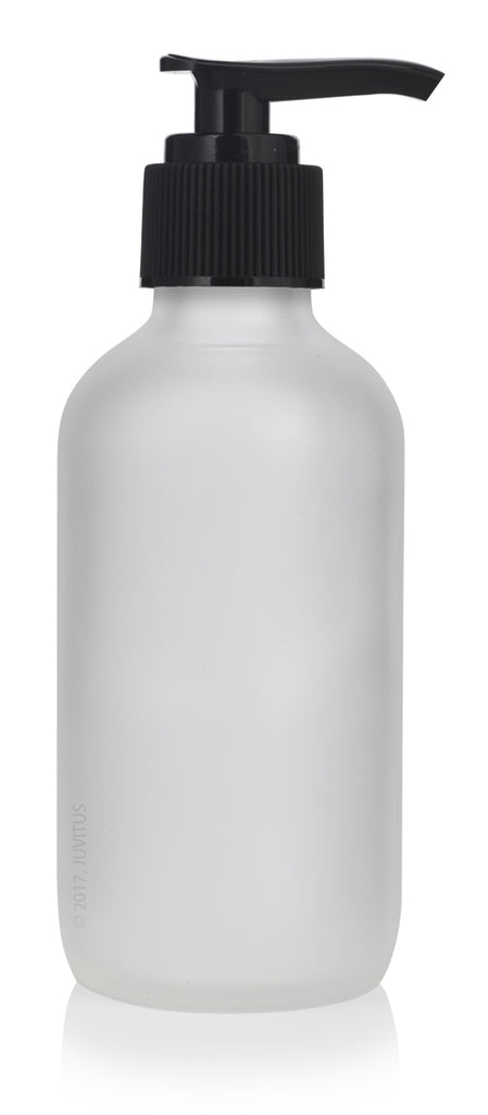 4 oz Frosted Clear Glass Boston Round Bottle with Black Lotion Pump + Funnel and Labels