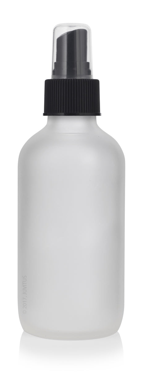 4 oz Frosted Clear Glass Boston Round Bottle with Black Fine Mist Sprayer + Funnel and Labels