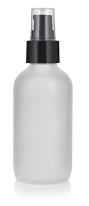 Frosted Clear Glass Boston Round Treatment Pump Bottle with Black Top - 4 oz / 120 ml