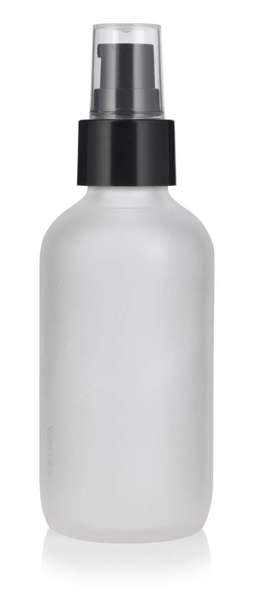 Glass Boston Round Bottle in Frosted Clear with Black Treatment Pump - 4 oz / 120 ml