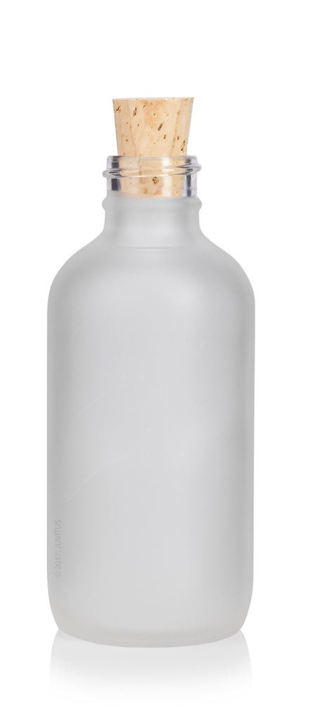 4 oz / 120 ml Frosted Clear Glass Boston Round Bottle with Cork Stopper Closure + a Funnel and Labels