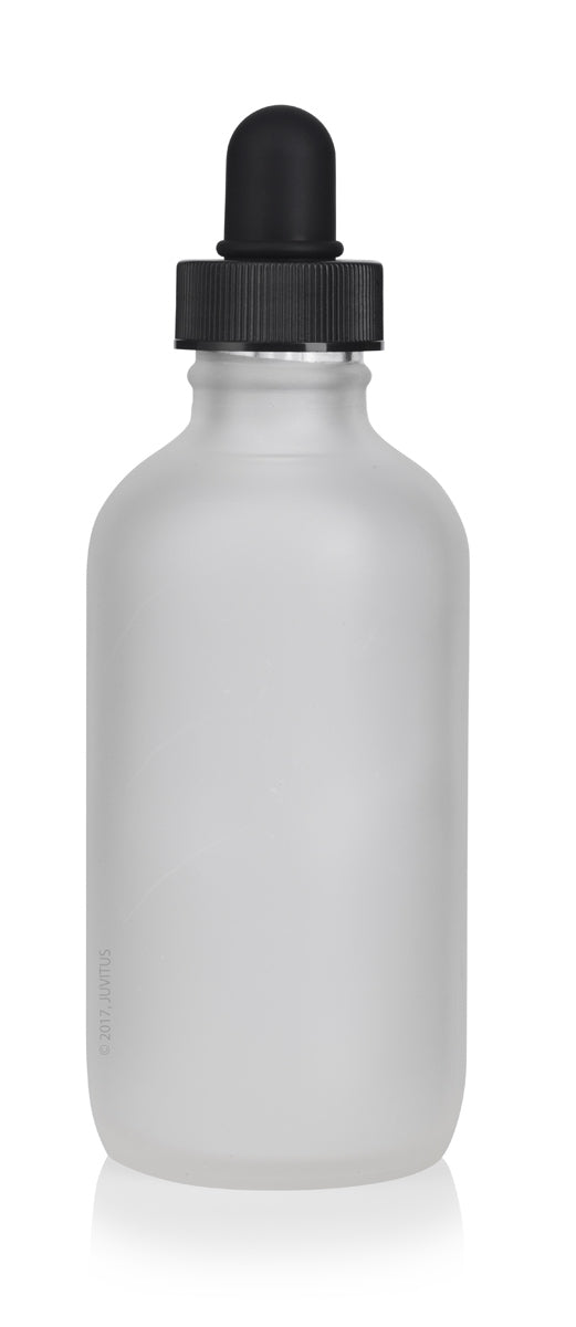 Frosted Clear Glass Boston Round Dropper Bottle with Black Top - 4 oz / 120 ml - JUVITUS