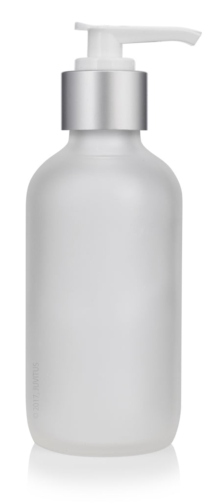 4 oz Frosted Clear Glass Boston Round Bottle with Silver Lotion Pump + Funnel and Labels