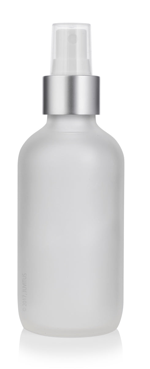 4 oz / 120 ml Frosted Clear Glass Boston Round Bottle with Silver Fine Mist Sprayer + Funnel and Labels