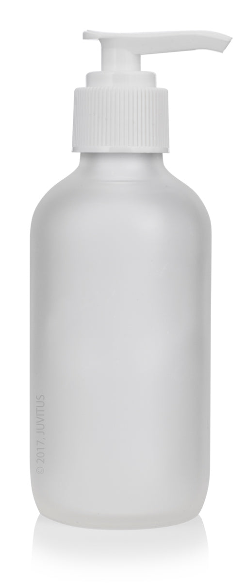 Glass Boston Round Bottle in Frosted Clear with White Lotion Pump - 4 oz / 120 ml