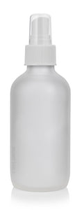 Frosted Clear Glass Boston Round Fine Mist Spray Bottle with White Sprayer - 4 oz / 120 ml