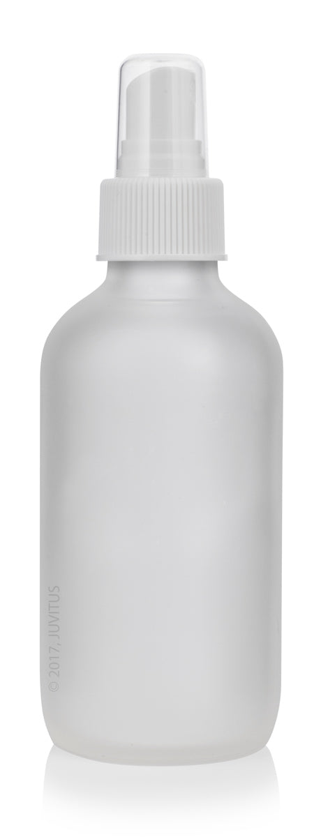 Glass Boston Round Bottle in Frosted Clear with White Fine Mist Spray - 4 oz / 120 ml