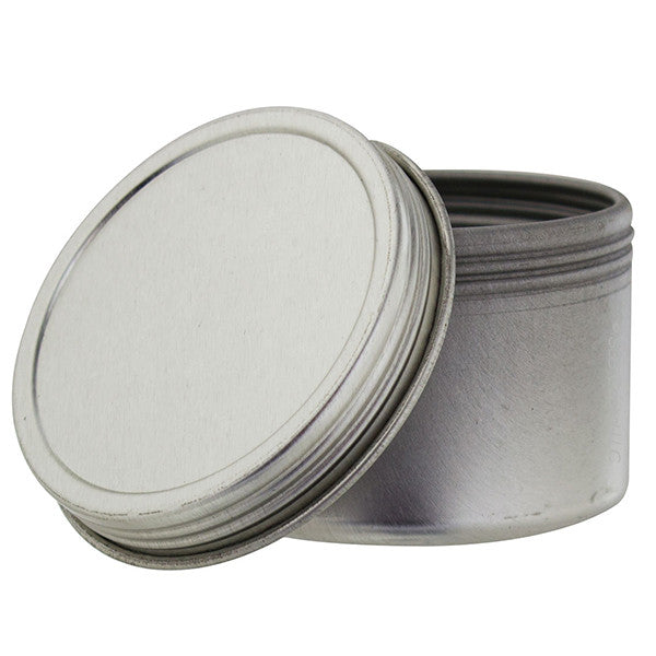 metal steel tin deep container with tight sealed twist screwtop cover 2 oz