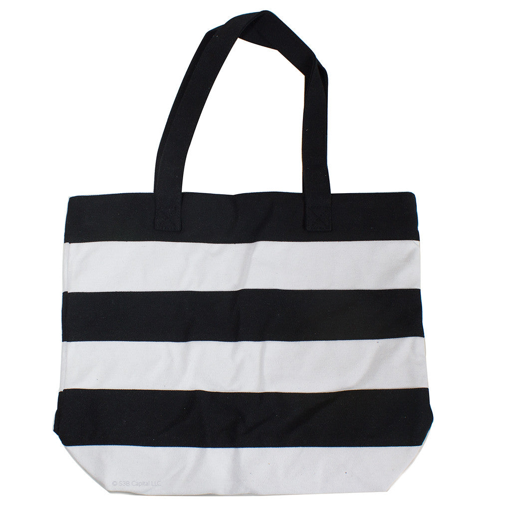 Wide Striped Canvas Tote With Zippered Top (Black/White)