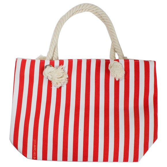 Vertical Striped Tote With Zippered Top and Soft Rope Handles