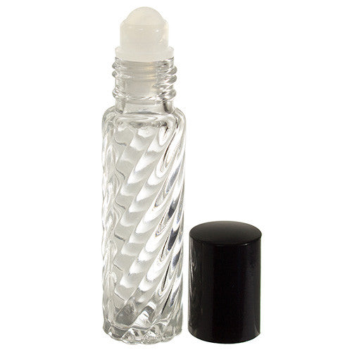 Clear Glass Swirl Roll On Bottle with Roll On Applicator - .33 oz / 10 ml