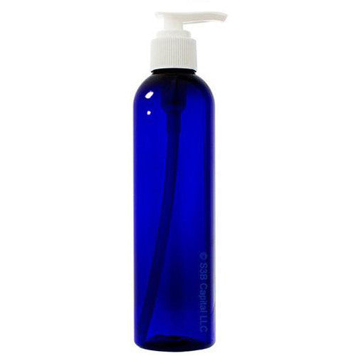 Plastic Slim Cosmo Bottle in Cobalt Blue with White Lotion Pump - 8 oz / 250 ml