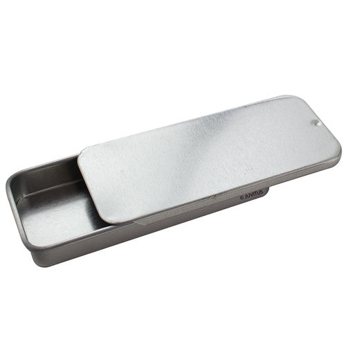 Metal Slide Top Tin Containers -Medium (5 Pack)
