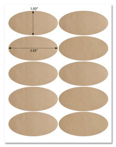 "Textured Brown Kraft Oval Labels, 3.93"" x 1.93"", with Template and Printing Instructions, 5 Sheets, 50 Labels (BK39)"