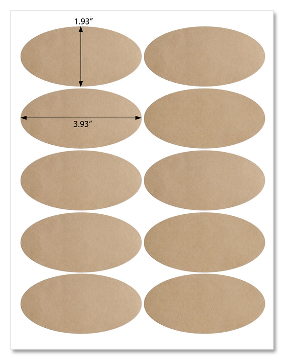 Textured Brown Kraft Oval Labels, 3.93