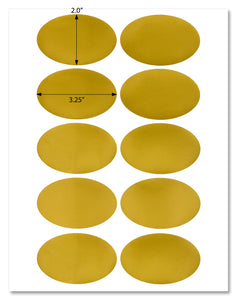 "Shiny Gold Foil Oval Labels, 3.25"" x 2"", for Laser Printers with Template and Printing Instructions, 5 Sheets, 50 Labels (OG32)"