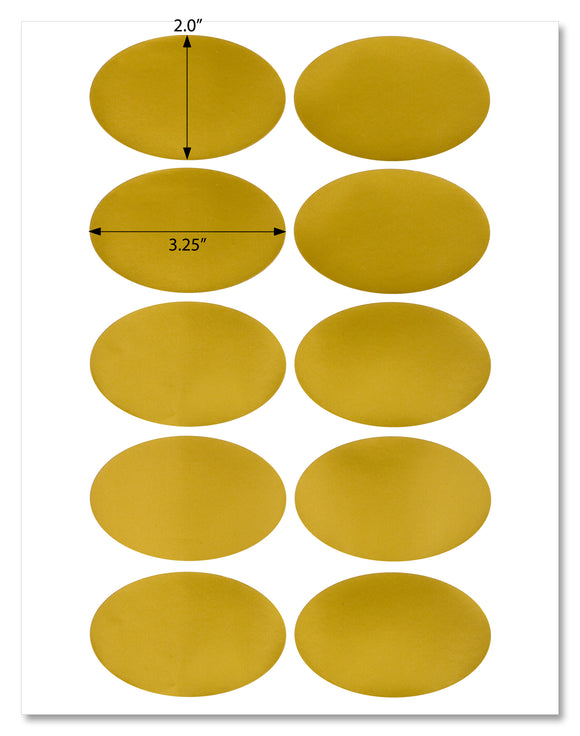 Shiny Gold Foil Oval Labels, 3.25
