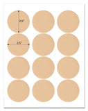Light Tan 2 Inch Circle Labels with Template and Printing Instructions, 5 Sheets, 100 Labels (LTC20)