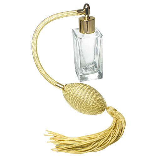 Perfume Empty Refillable Square Thick Wall Glass Bottle with Antique Gold Bulb Sprayer and Tassel 50 ml / 1.69 oz + Funnel and Pipettes