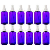 Purple Boston Round PET Bottles (BPA Free) with White Fine Mist Sprayer - 8 oz + Labels