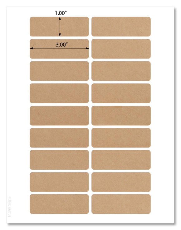 Textured Brown Kraft Round Corner 3 x 1 Inch Rectangle Labels, With Template and Printing Instructions, 5 Sheets, 90 Labels (RB31)