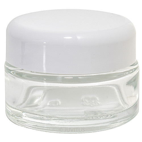 Glass Balm Jar in Clear with White Dome Foam Lined Lid - .5 oz / 15 ml - JUVITUS