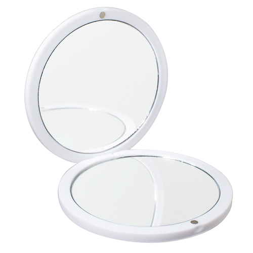 White Magnifying Compact Travel Double Sided Mirror with Magnetic Closure - 1x / 2x Magnifying View - Perfect for Touch Ups, Makeup Bag, Travel, Gym, Car