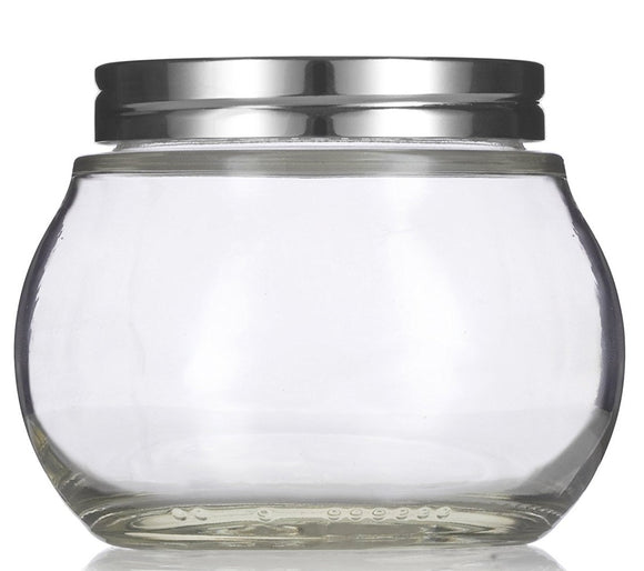 Glass Round Jar in Clear with Silver Metal Foam Lined Lid - 8 oz / 240 ml - JUVITUS