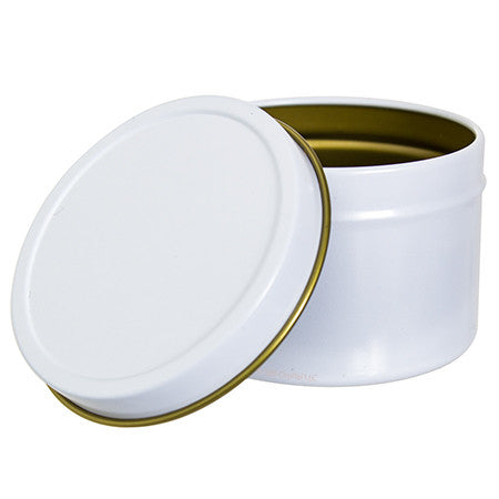 White Metal Steel Tin Container with Tight Sealed Slip Cover - 4 oz (6 Pack)