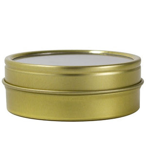 Gold Metal Steel Tin Flat Containers with Tight Sealed Clear Lids - 2 oz (6 Pack)